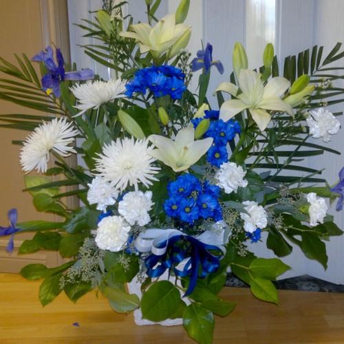 Lys, anastasias, oeillets, marguerites bleues et iris