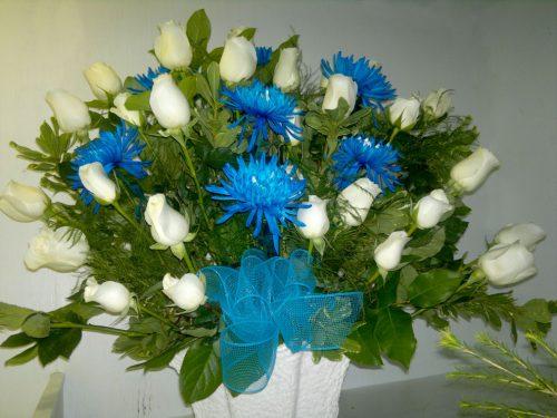 Roses blanches, anastasias bleues