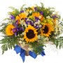 9 tournesol, iris et asters blancs