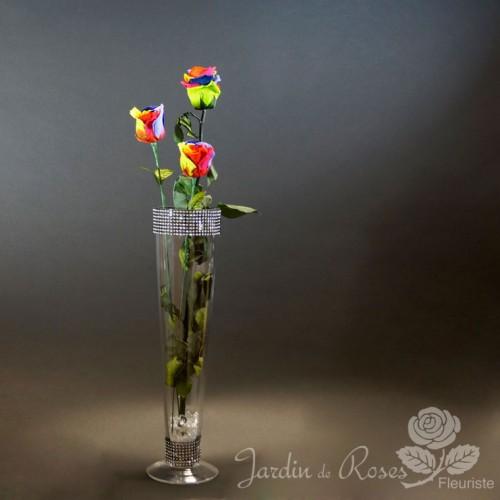 Roses éternelles colorées avec vase
