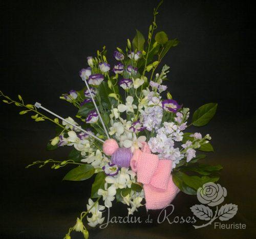 Orchidée blanches, giroflée lilas