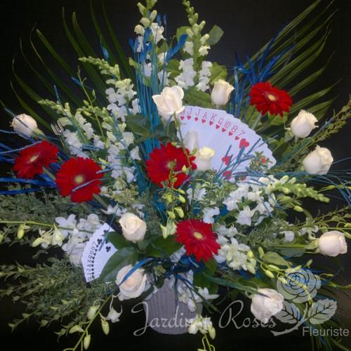 Orchidées, gerberas, roses et mufliers